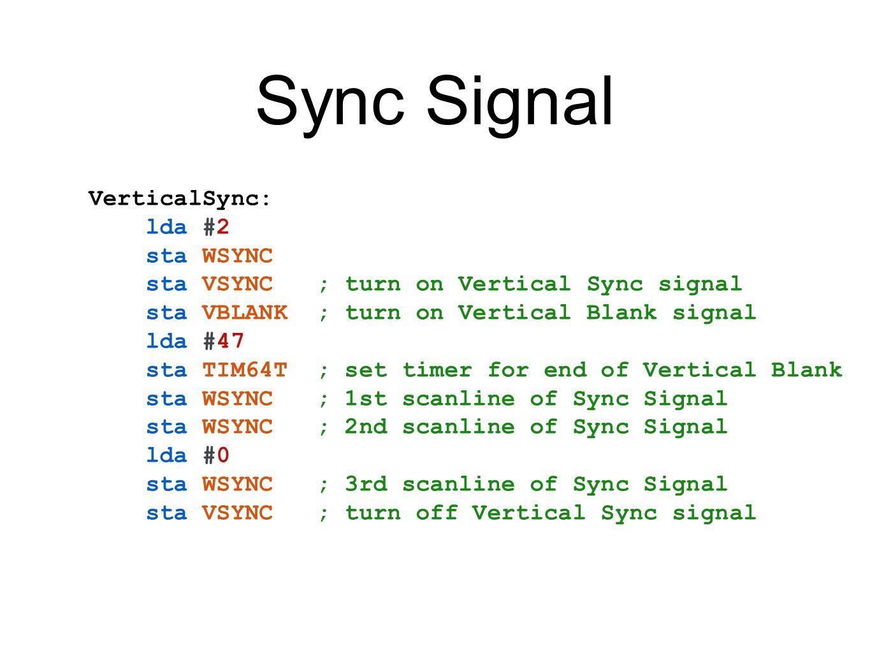 Sync Signal VerticalSync: lda #2 sta WSYNC