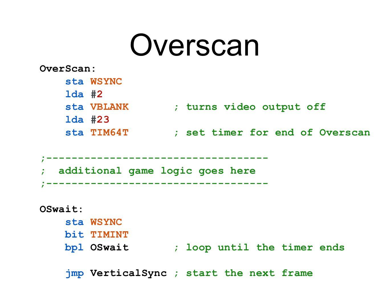 Overscan OverScan: sta WSYNC lda #2