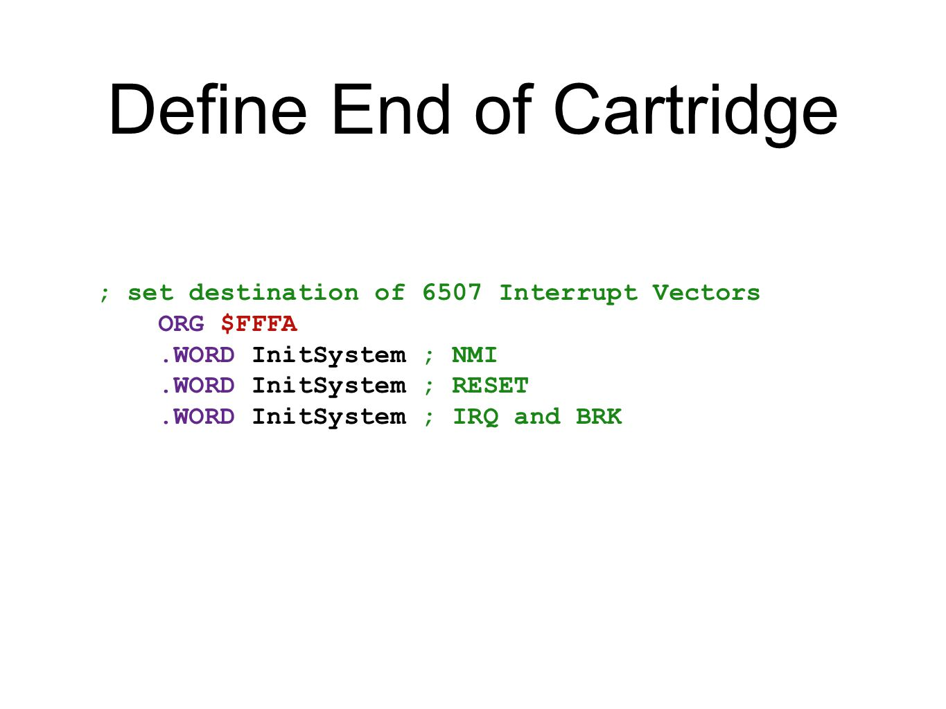 Define End of Cartridge