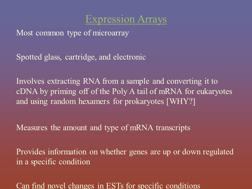 Expression Arrays Most common type of microarray