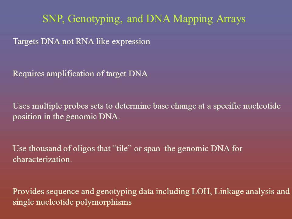 SNP, Genotyping, and DNA Mapping Arrays