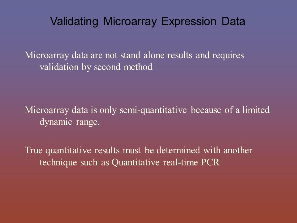 Validating Microarray Expression Data