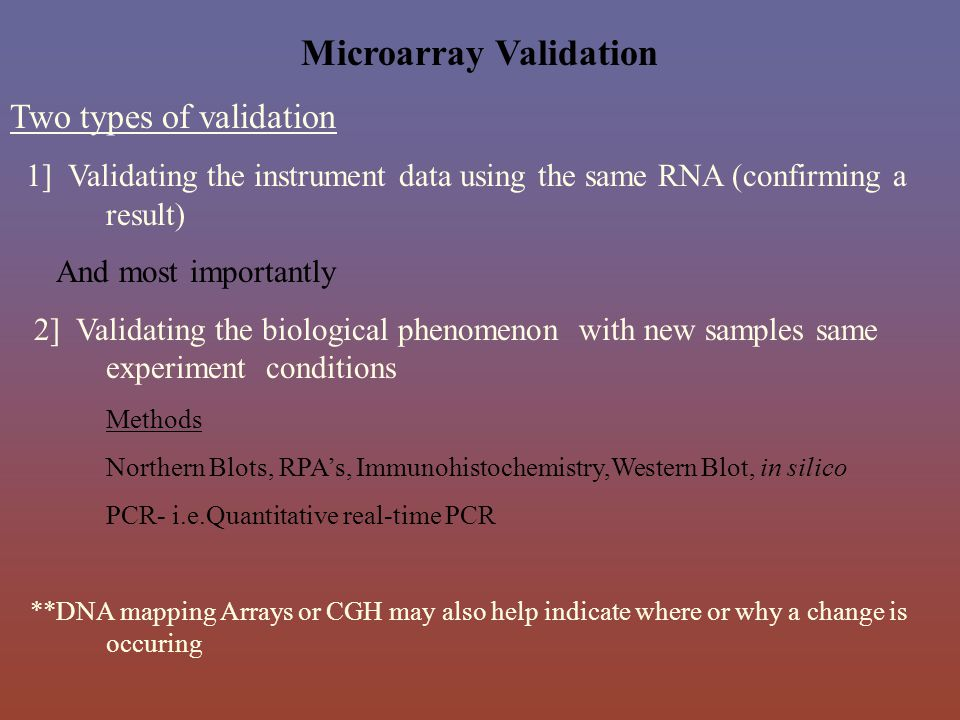 Microarray Validation