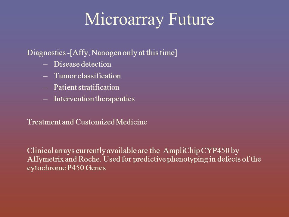 Microarray Future Diagnostics -[Affy, Nanogen only at this time]