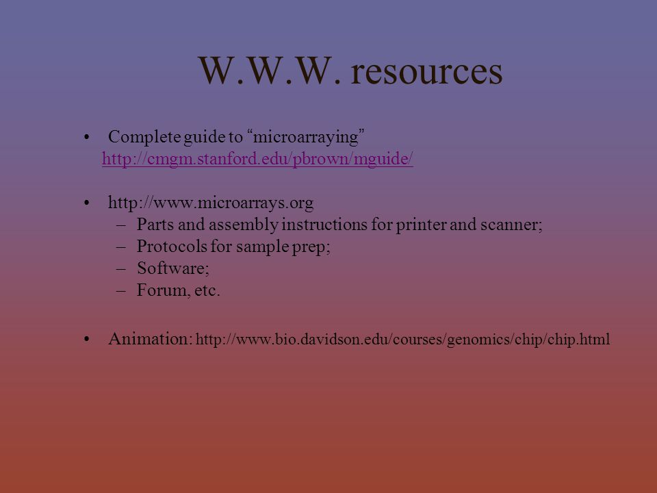 W.W.W. resources Complete guide to microarraying