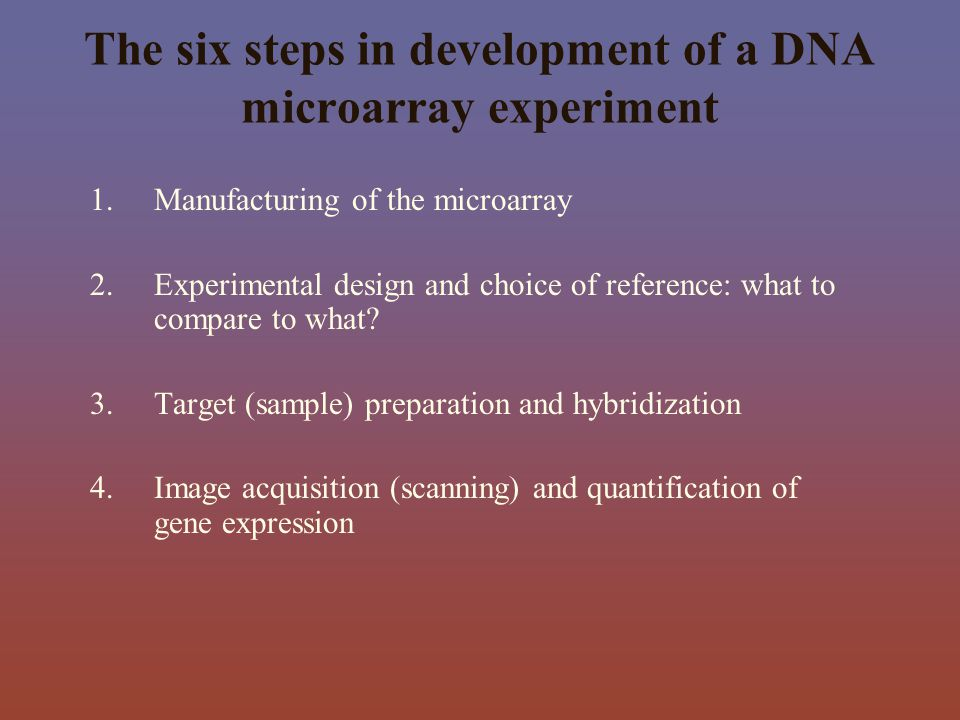 The six steps in development of a DNA microarray experiment
