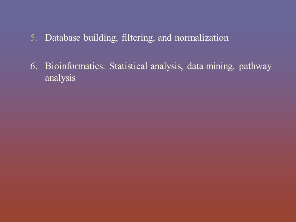 Database building, filtering, and normalization