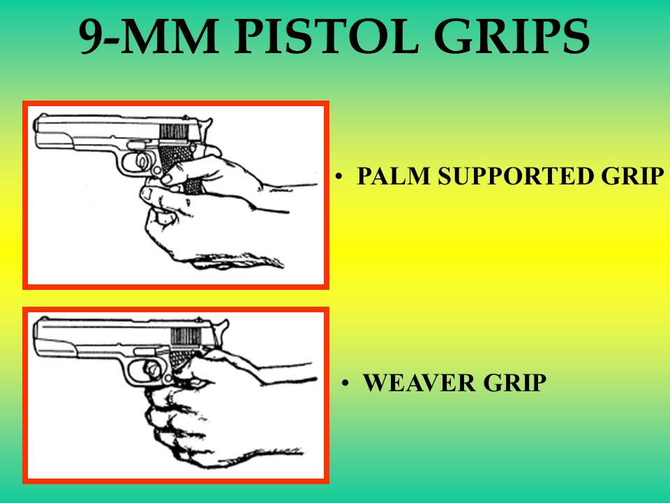 9-MM PISTOL GRIPS PALM SUPPORTED GRIP WEAVER GRIP