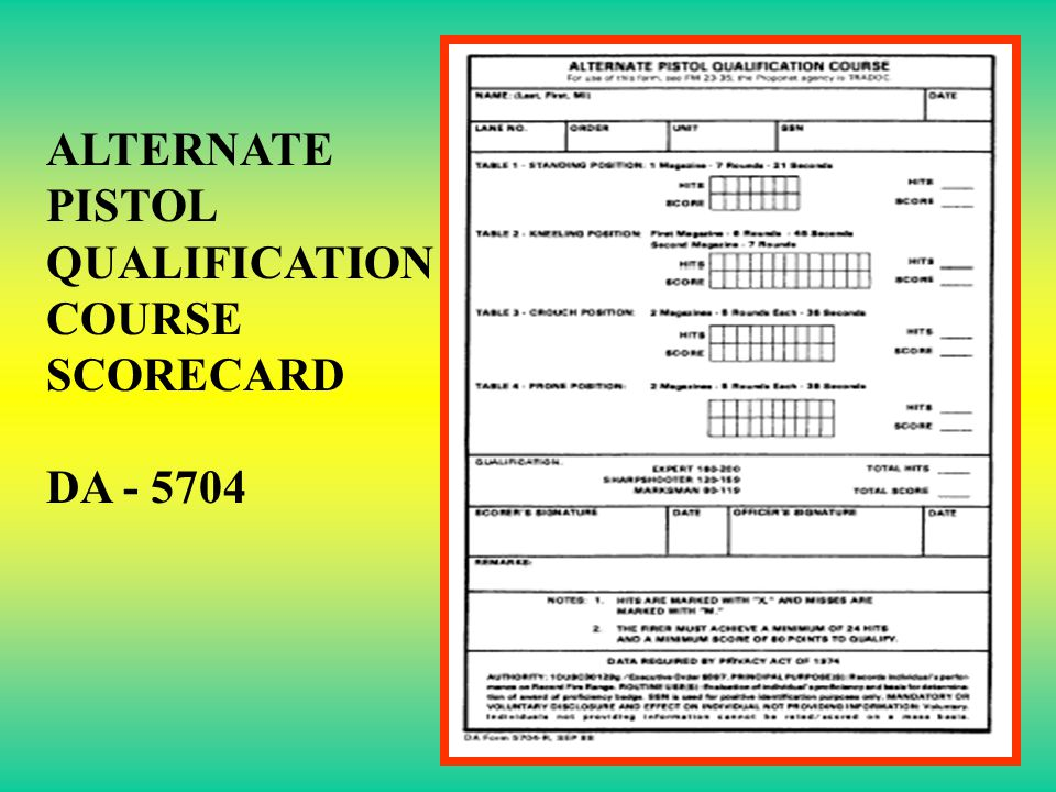 ALTERNATE PISTOL QUALIFICATION COURSE SCORECARD DA - 5704