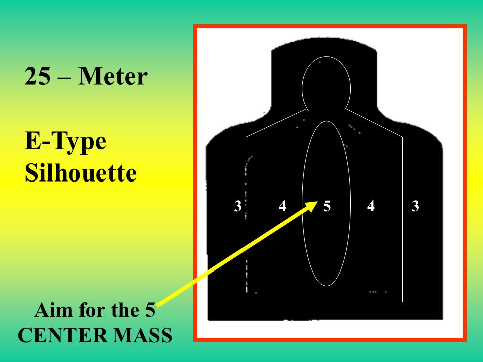 25 – Meter E-Type Silhouette 3 4 5 4 3 Aim for the 5 CENTER MASS