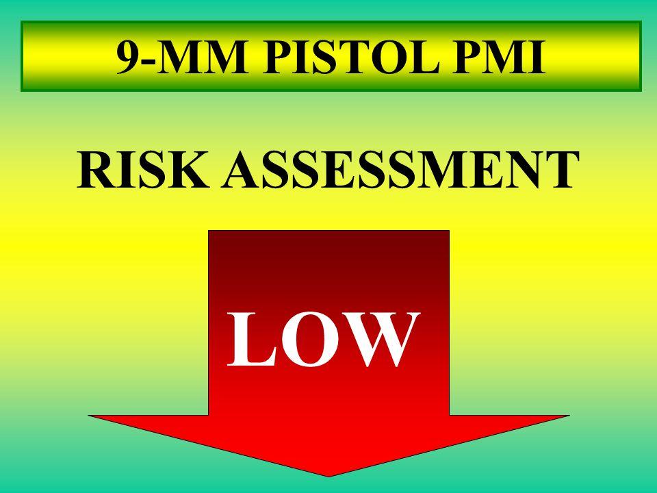 9-MM PISTOL PMI RISK ASSESSMENT LOW