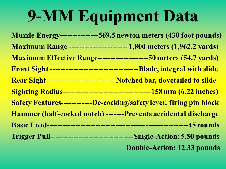 9-MM Equipment Data Muzzle Energy---------------569.5 newton meters (430 foot pounds)