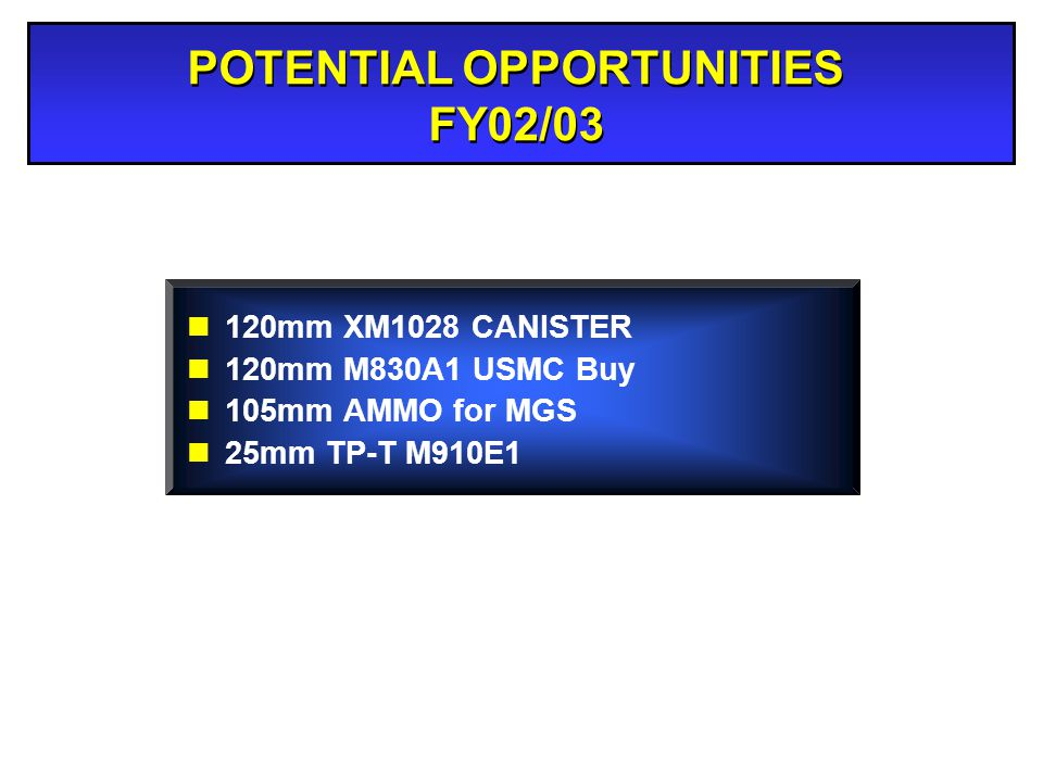 POTENTIAL OPPORTUNITIES FY02/03