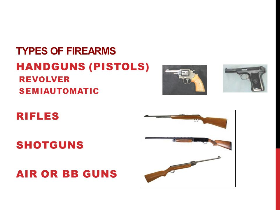 Types of Firearms Handguns (pistols) Rifles Shotguns Air or BB guns