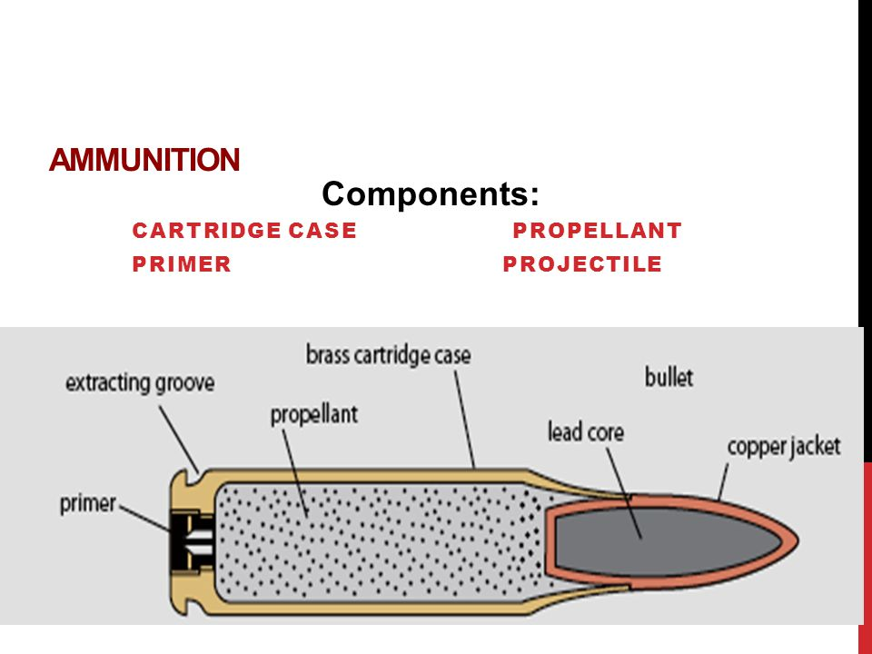 Cartridge case Propellant Primer Projectile