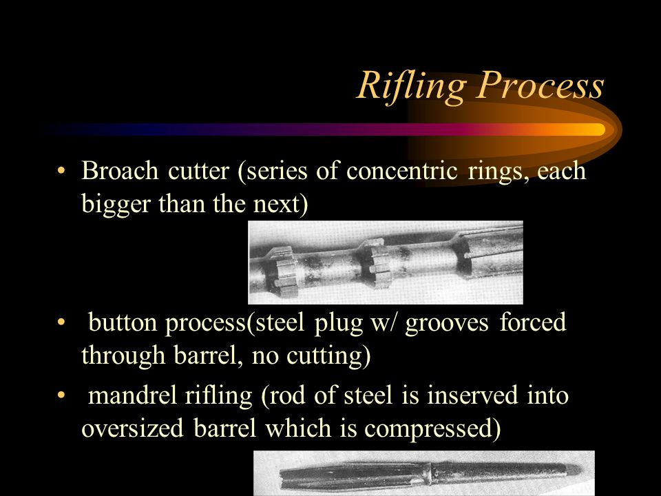 Rifling Process Broach cutter (series of concentric rings, each bigger than the next)