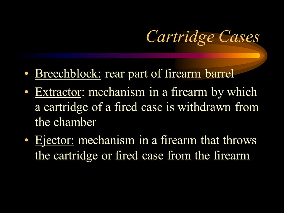 Cartridge Cases Breechblock: rear part of firearm barrel