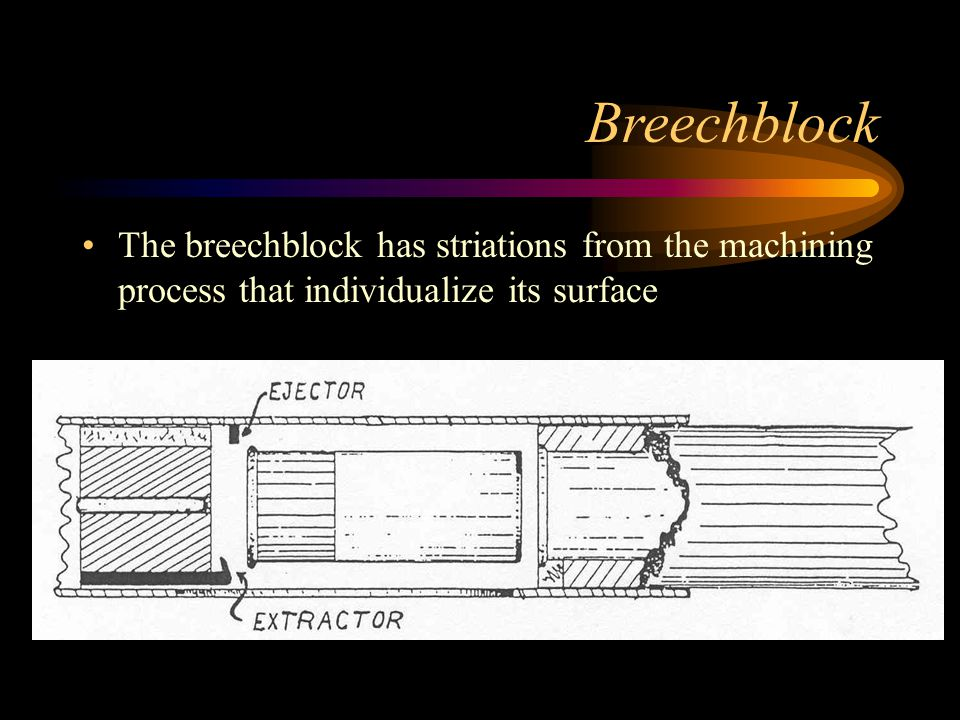 Breechblock The breechblock has striations from the machining process that individualize its surface.