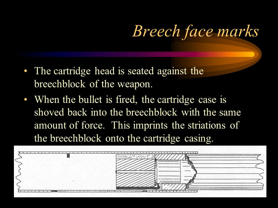 Breech face marks The cartridge head is seated against the breechblock of the weapon.