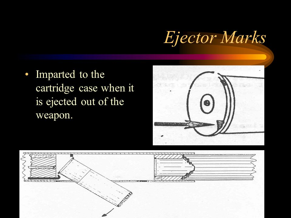 Ejector Marks Imparted to the cartridge case when it is ejected out of the weapon.