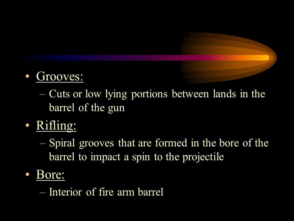 Grooves: Rifling: Bore:
