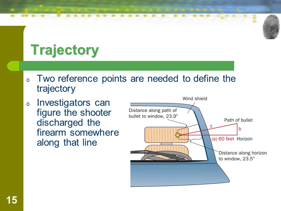 Trajectory Two reference points are needed to define the trajectory