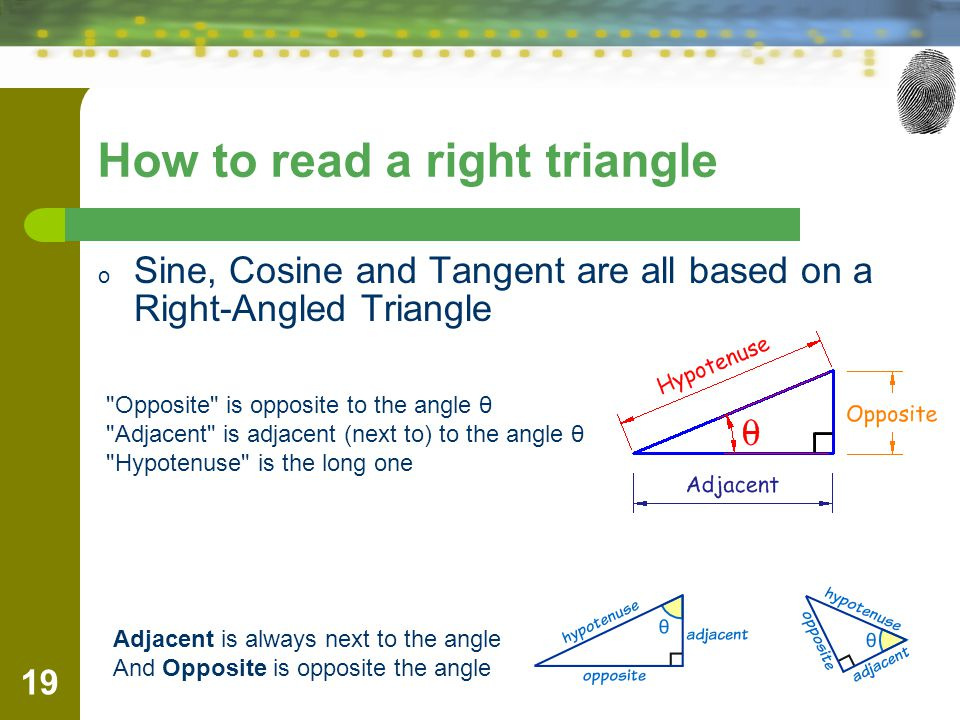 How to read a right triangle