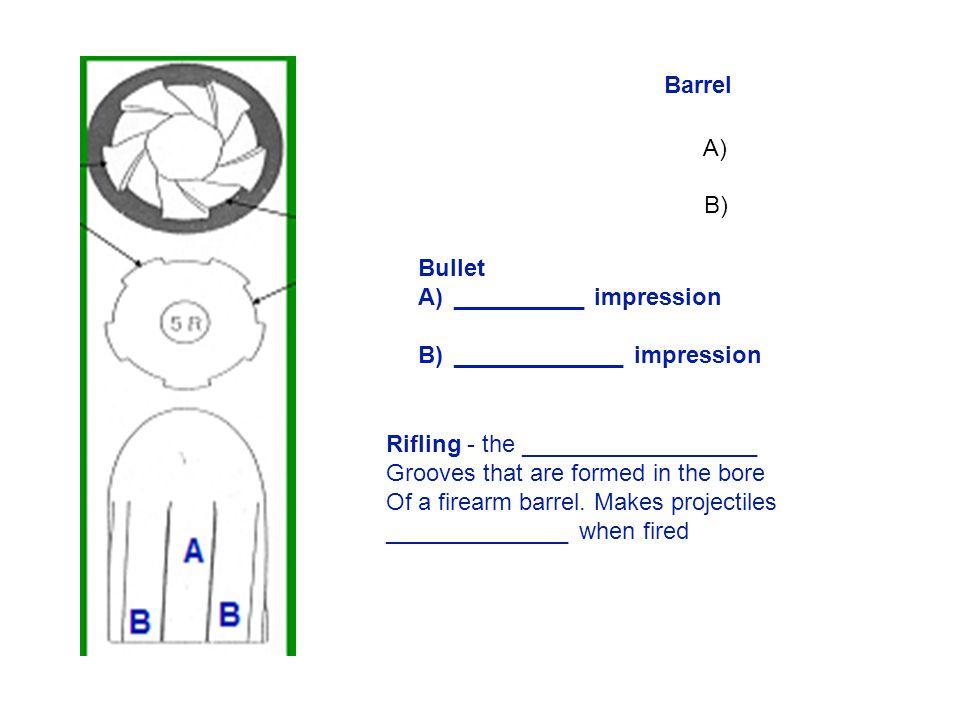 Barrel A) B) Bullet. __________ impression. _____________ impression. Rifling - the __________________.