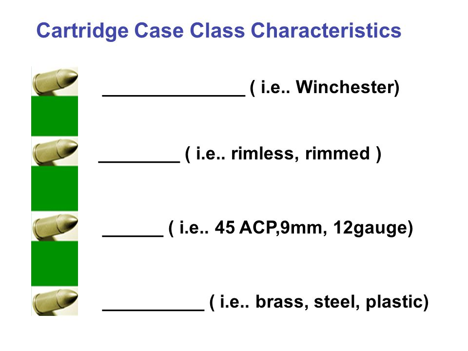 Cartridge Case Class Characteristics
