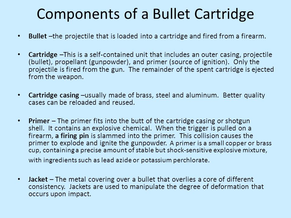 Components of a Bullet Cartridge