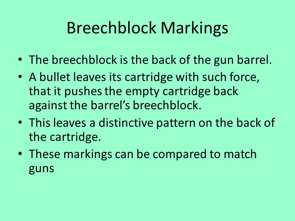 Breechblock Markings The breechblock is the back of the gun barrel.