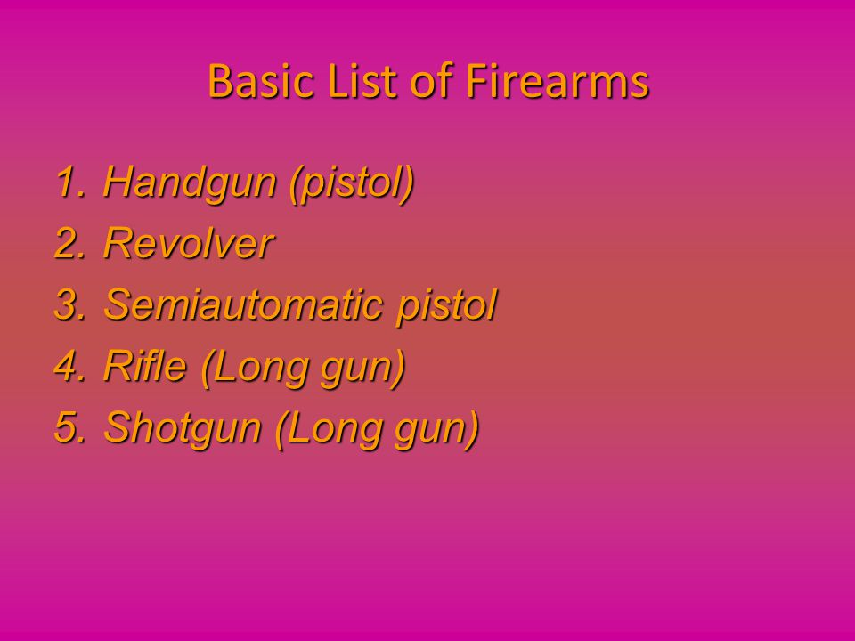 Basic List of Firearms Handgun (pistol) Revolver Semiautomatic pistol