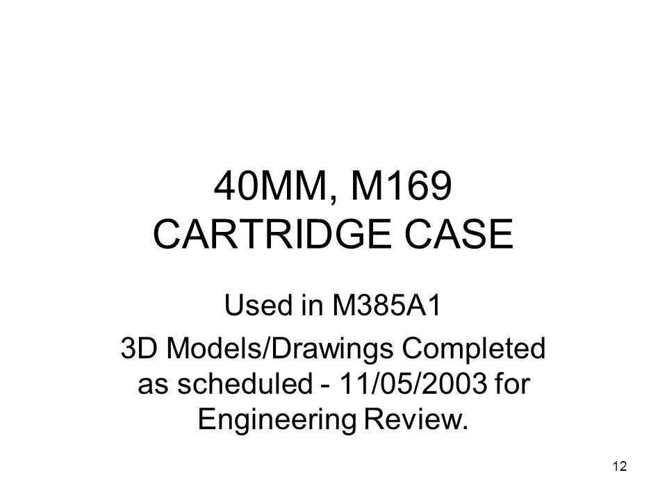 40MM, M169 CARTRIDGE CASE Used in M385A1