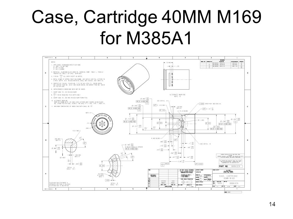 Case, Cartridge 40MM M169 for M385A1