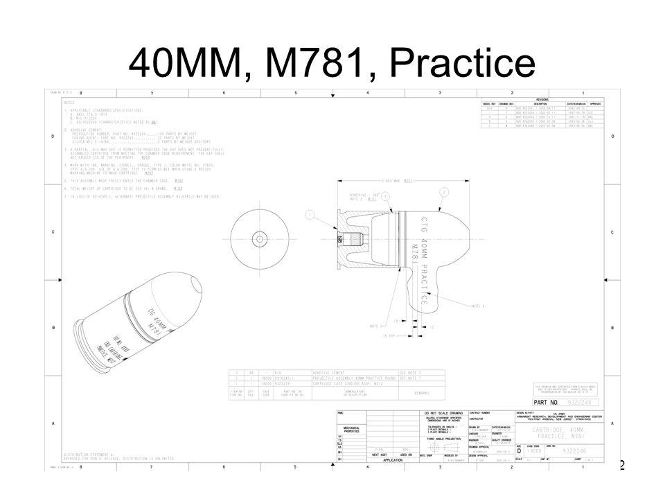 40MM, M781, Practice