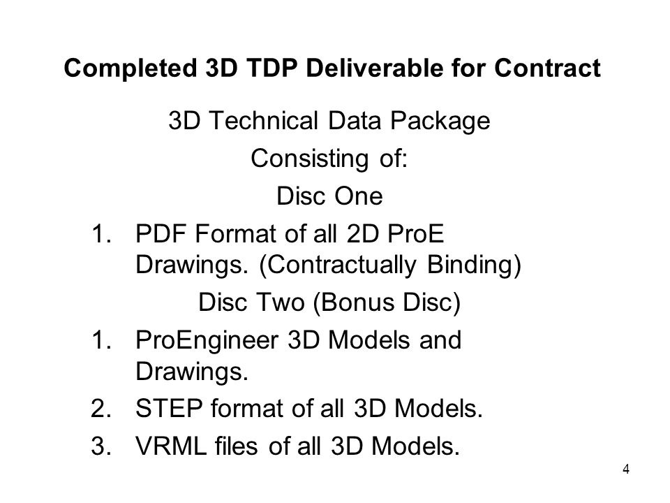 Completed 3D TDP Deliverable for Contract