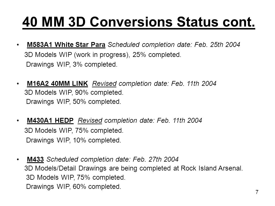 40 MM 3D Conversions Status cont.