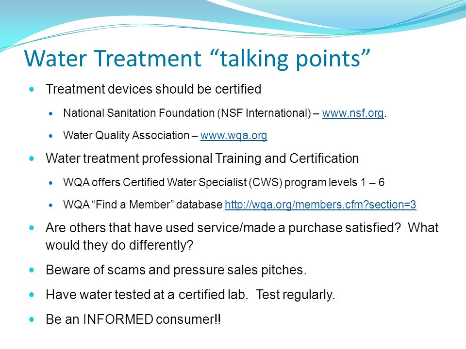 Water Treatment talking points