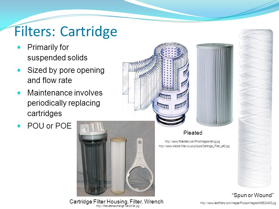 Filters: Cartridge Primarily for suspended solids