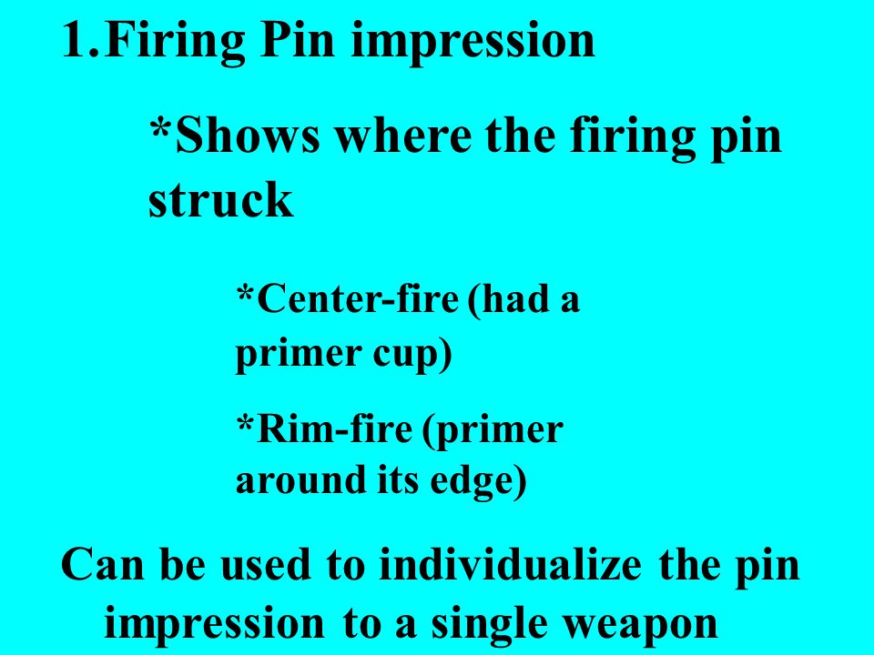 *Shows where the firing pin struck