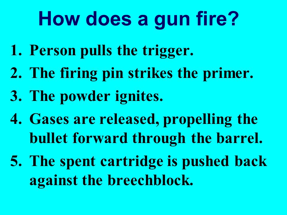 How does a gun fire Person pulls the trigger.