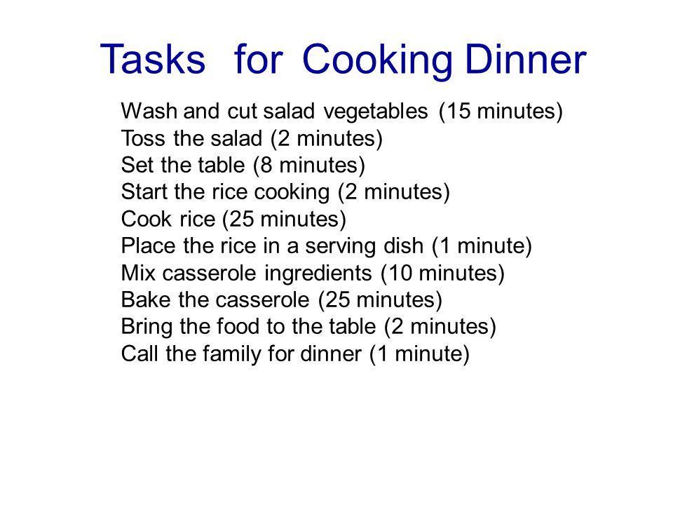 Tasks for Cooking Dinner