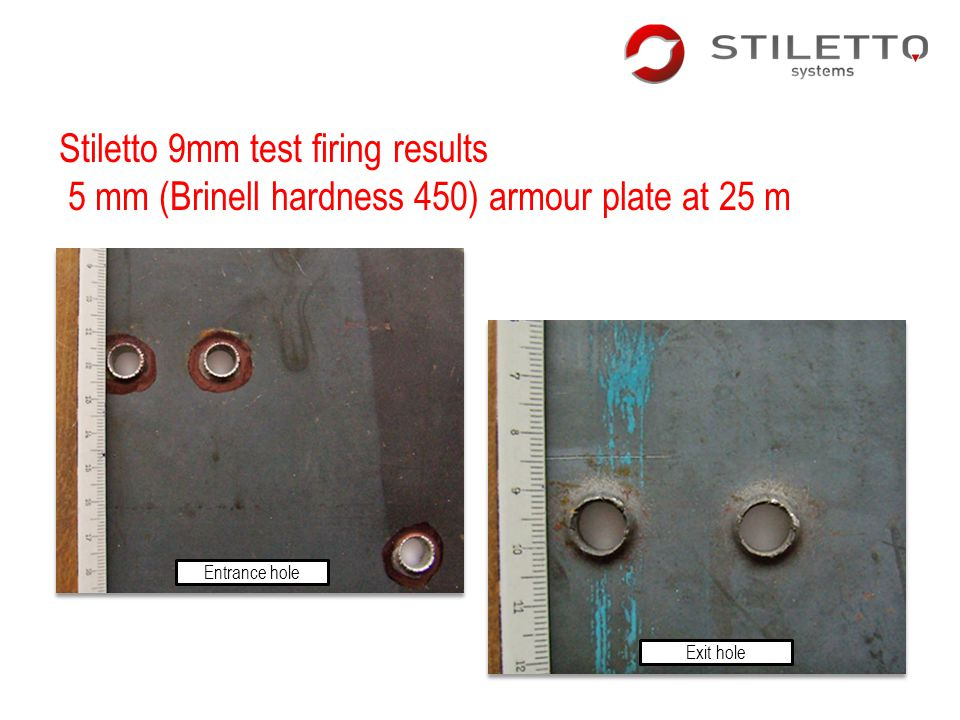 Stiletto 9mm test firing results 5 mm (Brinell hardness 450) armour plate at 25 m