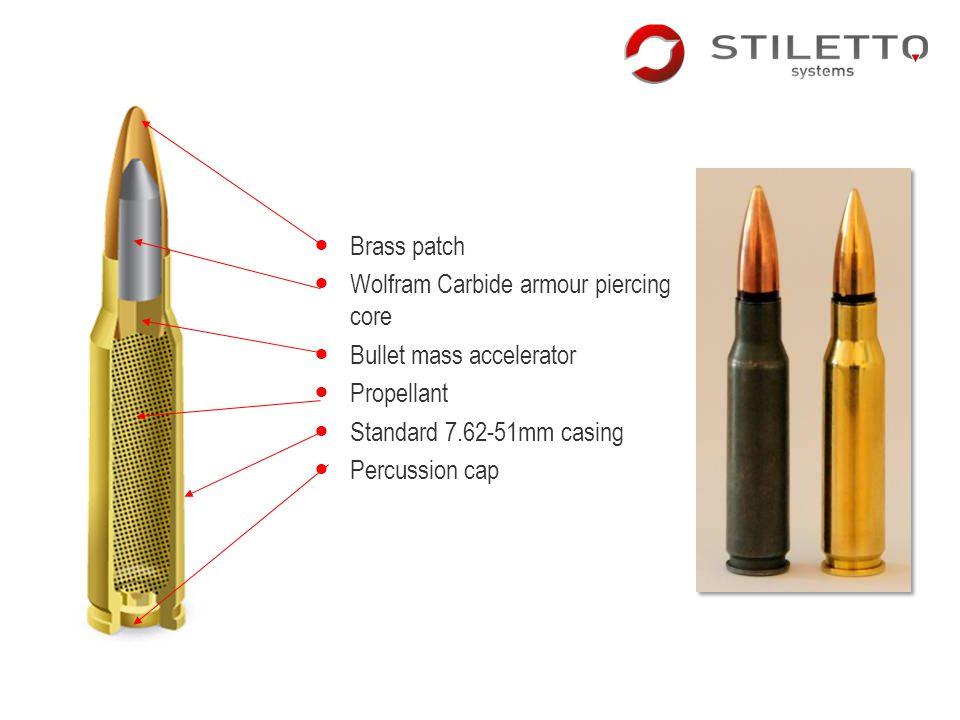 Brass patch Wolfram Carbide armour piercing core. Bullet mass accelerator. Propellant. Standard 7.62-51mm casing.