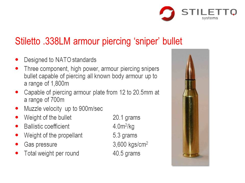 Stiletto .338LM armour piercing 'sniper' bullet