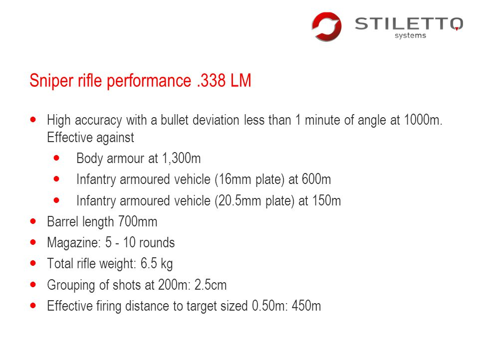Sniper rifle performance .338 LM