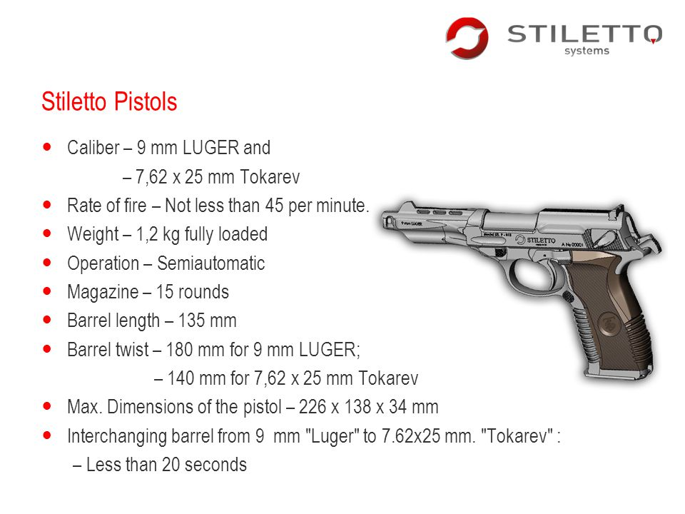 Stiletto Pistols Caliber – 9 mm LUGER and – 7,62 x 25 mm Tokarev