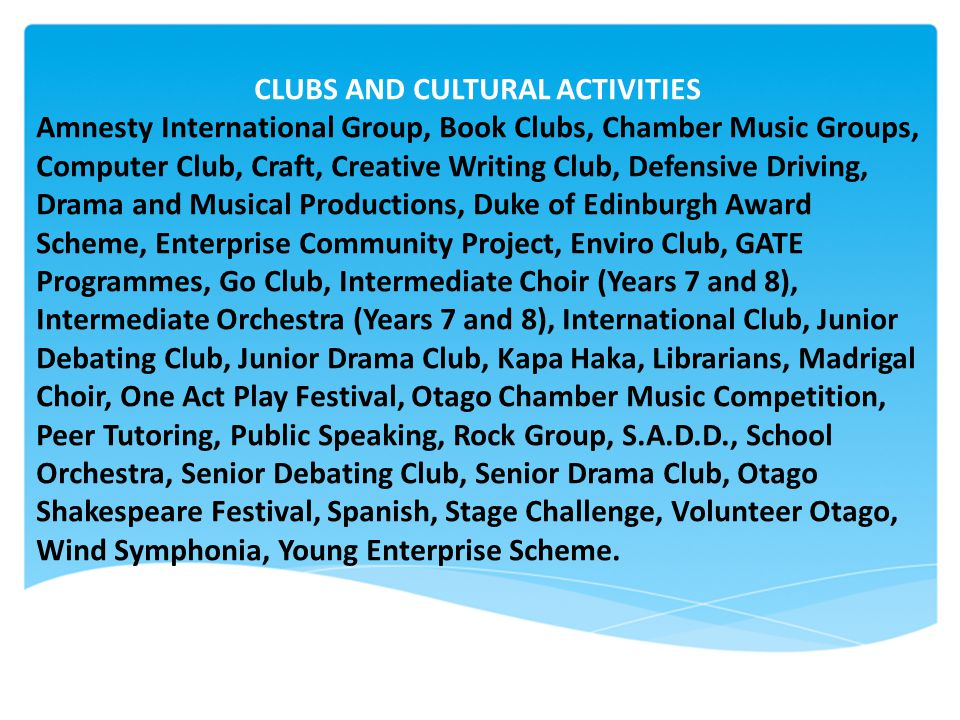 CLUBS AND CULTURAL ACTIVITIES