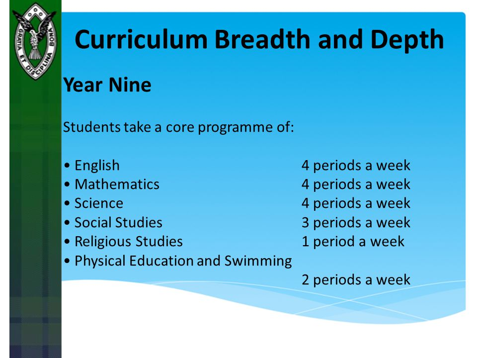 Curriculum Breadth and Depth
