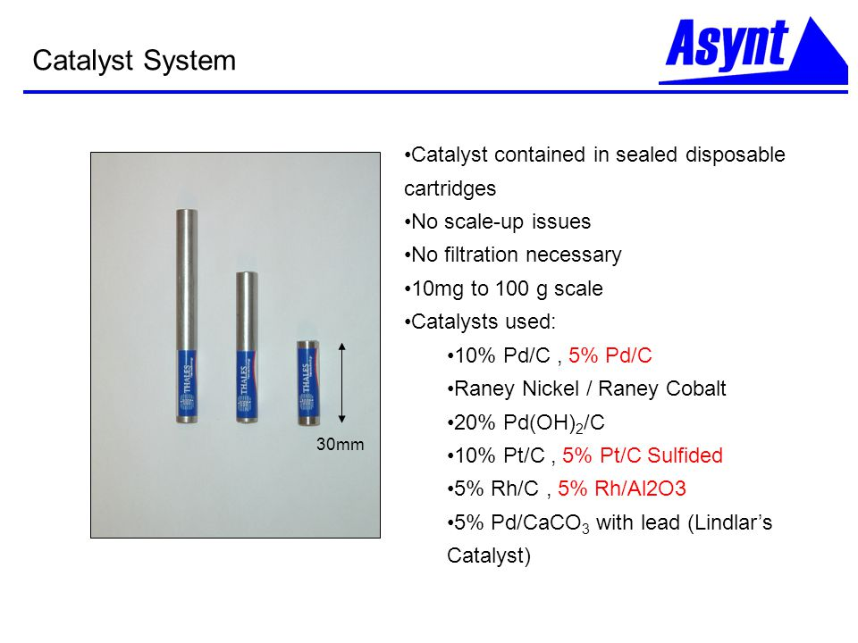 Catalyst System Catalyst contained in sealed disposable cartridges